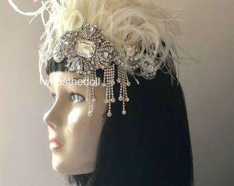 1920s Gatsby headpiece/Flapper headpiece/Art Deco headpiece/Wedding headpiece/Rhinestone headpiece/hair accessories/hair jewelry/Serenity