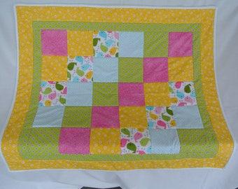 Baby Girl Bird Flower Polka Dot Cotton Quilt, Patchwork, Yellow, Blue, Pink, Green, Crib, Baby Shower, Baby Gift, Lap Quilt, Handmade, Play.