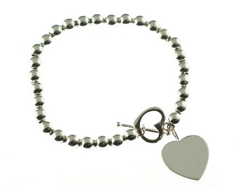 Silver Beaded Heart Toggle Bracelet