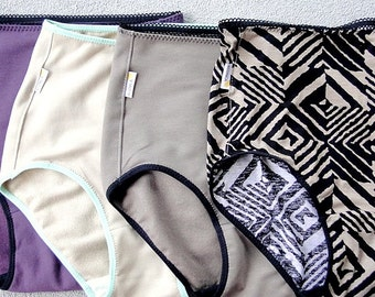 High waisted underwear, set of 4 panties, 21 color options