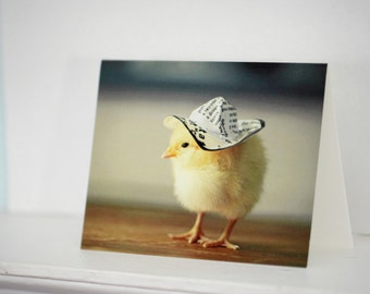Chicks in Hats Miniature Newsprint Hat Chicken Greeting Card Baby Animal Stationary