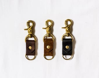 Leather + Solid Brass Snap Keychain • Brass Swivel Snap Key Ring • Brown Leather • Black Leather • Rough Out Suede • Key Fob Accessory