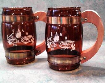 SIESTA WARE Cowboy Western Amber Glass Mugs - 1950's (Set of Two) Vintage