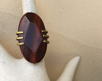 Vintage Jan Michaels Ring Modernist Wood Grain Cut Stone Oval Ring