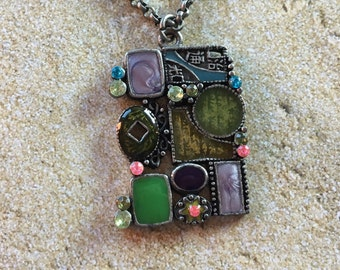 Metal Art Deco Pendant,  Pendant, For Her, Womens Jewelry, Gift Ideas, Necklace, Jewelry, Necklace