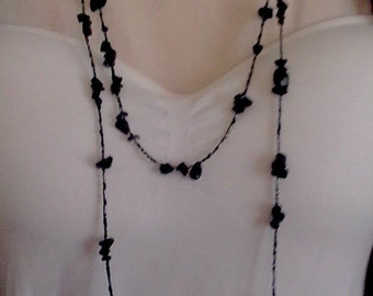 Black beaded necklace, black beaded rope necklace, black beaded layered necklace, black necklace, black statement necklace, beaded necklace