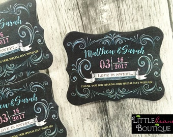 Wedding Favors ,Wedding Favor stickers, Bridal Shower Favors, Bridal Shower Stickers, Custom labels,Chalkboard stickers,Vintage,Fancy labels