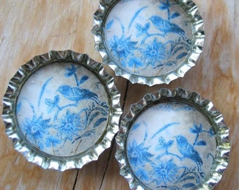 3 Weathered Looking Blue Birds, Flowers and Vines Bottlecap Magnets