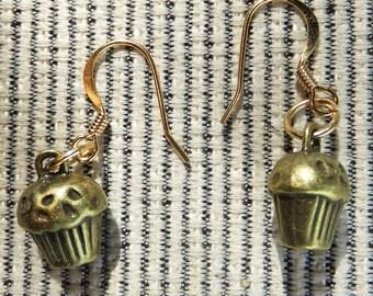 Brass Cupcake Dangle Earrings