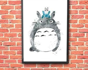 SALE My Neighbor Totoro Watercolor Print Miyazaki Hayao Art totoro Print, totoro poster, totoro Nursery Kids Room Gift totoro wall art,ET242