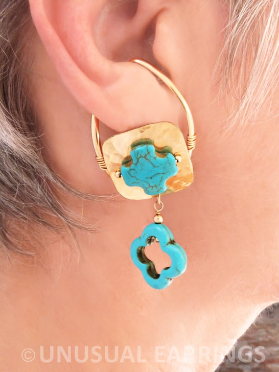 gold filled unpierced earrings non pierced ear cuff gold filled unpierced earrings non pierced turquoise cross 3981