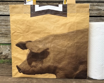 Recycled Feed Bag Tote, reusable tote bag, grocery tote, recycled shopping bag, reusable grocery bag, recycled tote bag, Payback swine