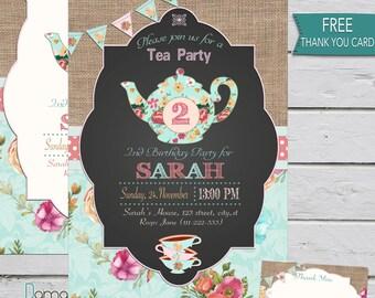 Tea party invitation, Tea party birthday invitation, floral teaparty, tea for two, 2nd birthday invitation, shabby chic printable invitation