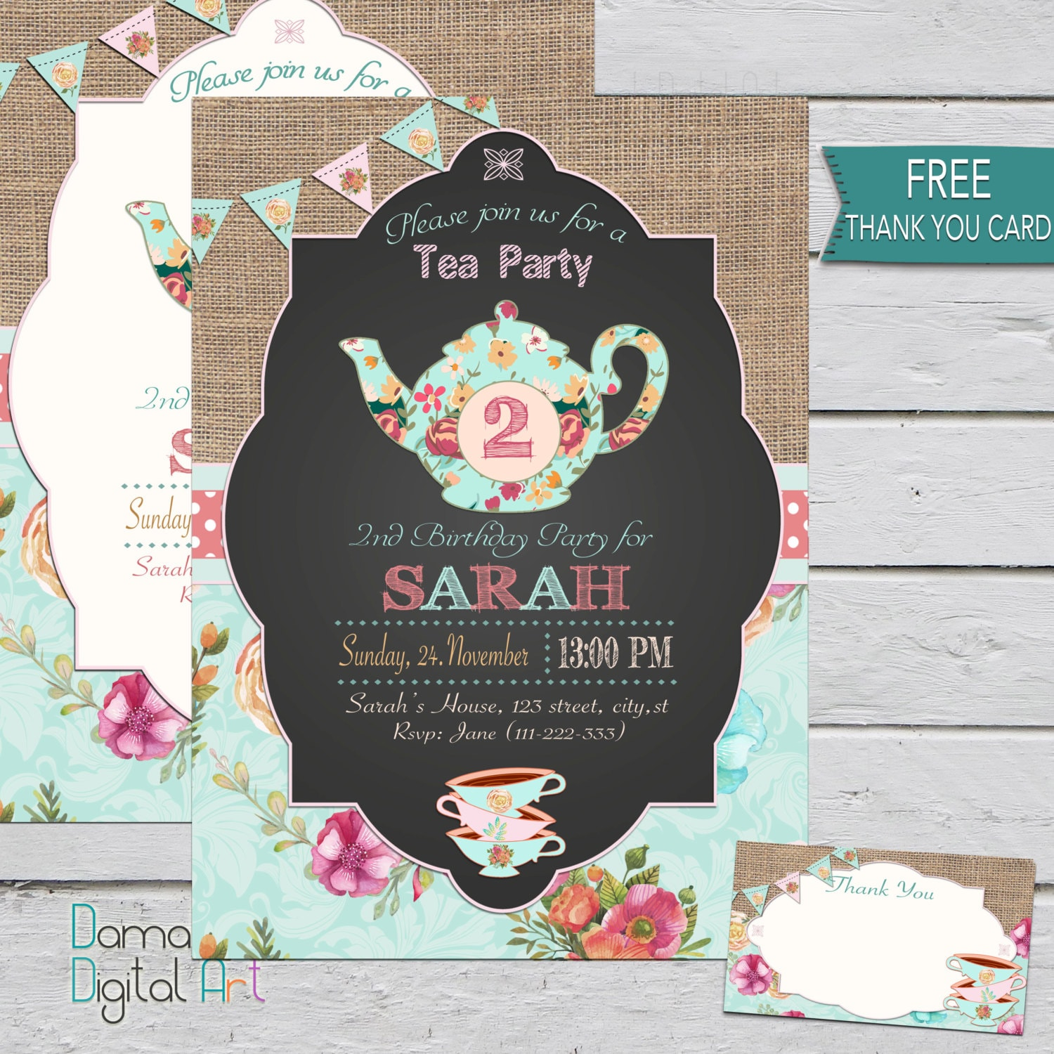 Tea Party Invitation Birthday Floral