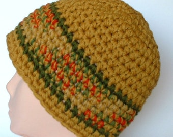 Warm Golden Wool Beanie Hat Cap for Adult or Teen