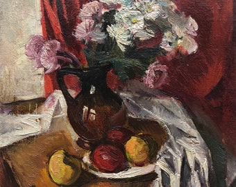 VINTAGE STILL LIFE Original Oil Painting by Soviet Ukrainian artist Vasilevskaya E. 1980s, Signed, Flowers Fruits painting, Floral picture