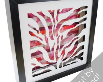 zebra stripes shadowbox- made from recycled magazines, modern, pattern, zebra, animal print, zoo, interior design