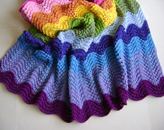 Knitting In Technicolor Waves Blanket Pattern - Perfect for the Newbie Knitter