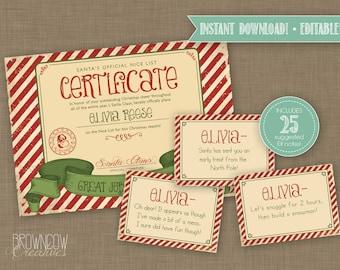 EDITABLE, INSTANT DOWNLOAD, Elf Letters, Elf Report Card, Nice List Certificate, Naughty Certificate, Elf Notes, Elf Messages, Elf Cards