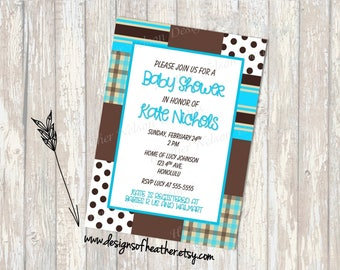 Mad about Plaid Digital Baby Shower Invitation