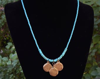 Turquoise trinity --one of a kind necklace