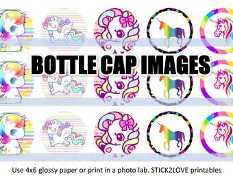 "Rainbow unicorns 4x6 - 1"" circles, bottle cap images, stickers"