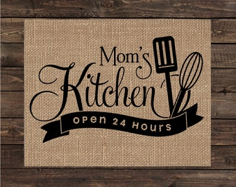 Mom's Kitchen / Gift for Mom / Burlap Print / Mother's Day Gift (#1412B)