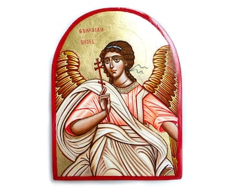 Guardian Angel, Baptism Favor GIft,  handpainted icon orthodox style, 6 x 8 inches, MADE TO ORDER
