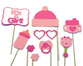 Girl Baby Shower Photo Booth - 9 Piece Photo Booth Prop Set