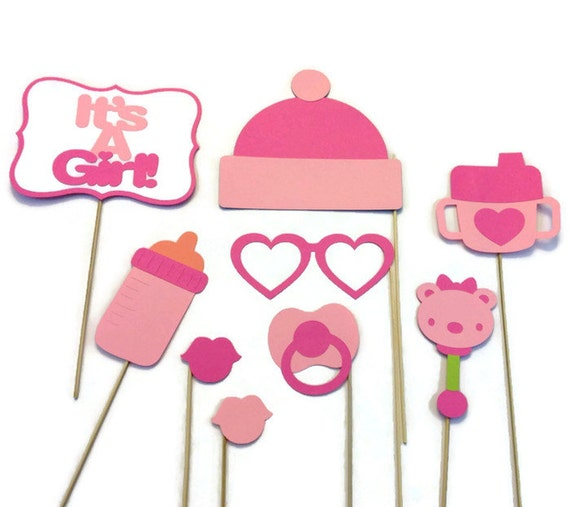 Girl Baby Shower Photo Booth 9 Piece Photo Booth Prop Set