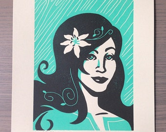 LILY - long-haired woman with flower in hair - Handmade Linocut Print