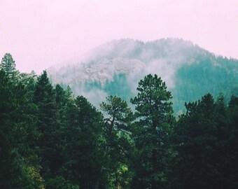 Colorado Springs Foggy Mountains