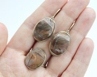 Vintage Jasper set,Brown Jasper Set, Jasper ring, Jasper earrings, boho style set #334 Free shipping