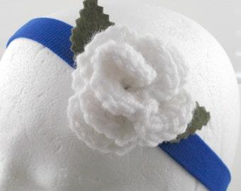Crocheted Rose Headband - White Rose on Bright Blue Stretchy Headband (SWG-HH-ZZ02)