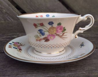 Vintage Floral Tea Cup - Syracuse Old Ivory - Made in USA