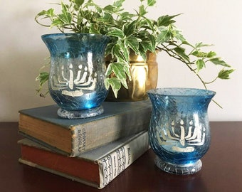 Menorah Blue Votives / Jewish Menorah / Candle Holder Pair / Ocean Blue / Vintage Crackle Glass / Hanukkah