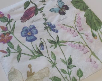 Decoupage Paper Napkins, Floral Napkins, Lunch Napkin, Primrose, Bluebell, Butterflies, Collage, Craft, Scrapbooking, Paper Craft, Serviette