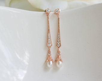Rose Gold Bridal Earring | Wedding Jewelry | Pearl Dangle Earrings | Bridesmaid Earrings | Vintage Inspired Earrings | Wedding Earrings