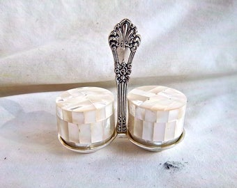 Vintage Import Mother Of Pearl Salt and Pepper Spoon Holder Stand Set Vintage Shell Screw Tops Spoon Rest Seasoned With Perfection Set