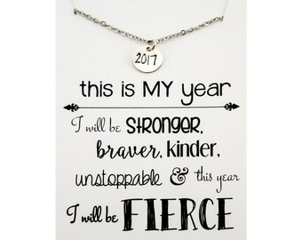 This is my year necklace - 2017 necklace - Personal Motto Jewelry - Sterling silver necklace - sterling silver inspirational gift