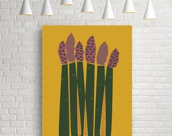 Kitchen poster, kitchen wall art, mid century art, wall decor, mid century modern, kitchen print, affiche cuisine, vegetable art, asparagus