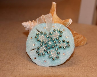 Christmas Ornament- Sand Dollar Beaded with Swarovski Crystals