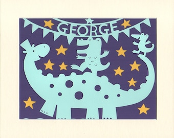 Baby Boy Gift, Personalised Wall Art, Handcut  Dinosaur Circus Papercut, Nursery Decor, Gift For Baby Boy, George or Name of Your Choice