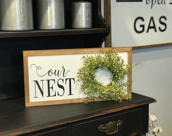 Our Nest farmhouse wreath sign, spring wreath, summer wreath