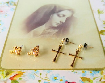 VINTAGE Cross Pierced Earrings Lot/Bundle-Signed Avon-Pearl-Gold-Dangle-All Orders Only 99c Shipping!
