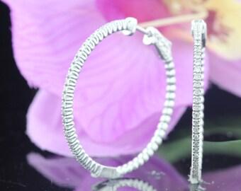 14k White Gold Round Diamond Hoop Earrings, Unique Medium White Hoop Earrings