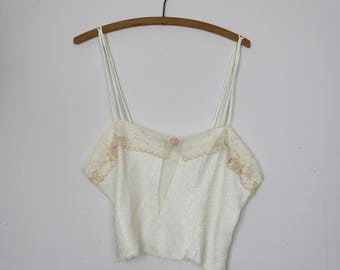 70s Victorias Secret Creamy Off-White Camisole with Lace and Rose Floret with the Original Tags