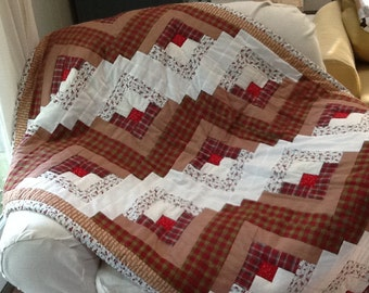 Quilt - hand made - log cabin pattern