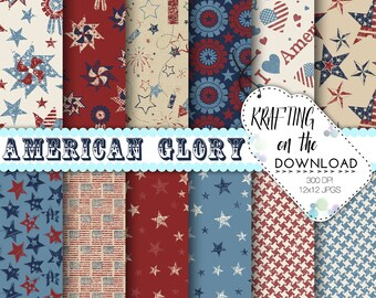 vintage 4th of july  paper pack rustic america digital papers fourth of july vintage USA red blue scrapbook pages summer paper pack