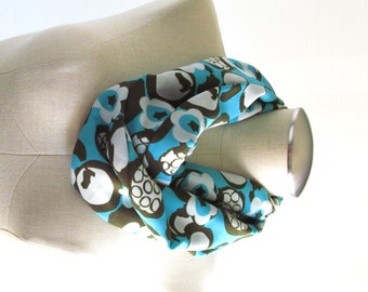 Turquoise Infinity Scarf  - Floral Scarf - Mod Scarf - SALE